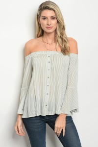 C38-B-2-T1877 OLIVE WHITE STRIPES TOP 2-2-2