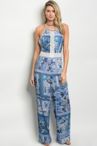 113-1-3-J13088 BLUE WHITE JUMPSUIT 2-2-2