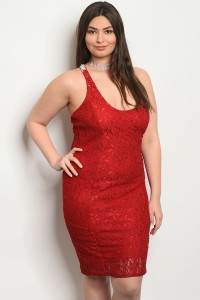 C74-A-4-D22828X RED PLUS SIZE DRESS 2-2-2