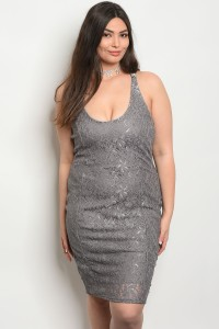 C82-A-3-D22828X GRAY PLUS SIZE DRESS 2-2-2