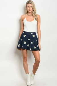 112-2-1-S1502 BLUE DENIM FLORAL SKIRT 2-2-2