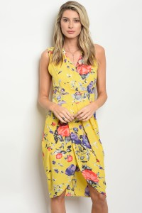 C88-A-3-D6569 YELLOW FLORAL DRESS 2-2-2