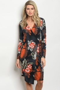 C98-A-1-D6659 BLACK RUST FLORAL DRESS 1-1-2