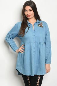 S10-15-3-T38582X BLUE DENIM PLUS SIZE TOP 2-2-2