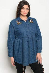 108-5-4-T38582X DARK BLUE DENIM PLUS SIZE TOP 2-2-2