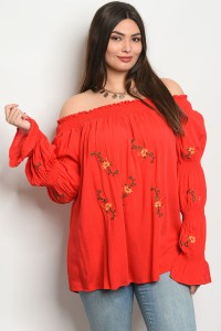 S10-14-4-T59123X RED PLUS SIZE TOP 2-2-2