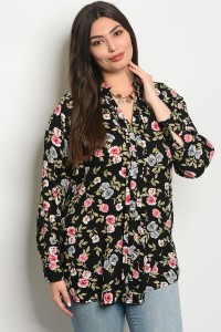 110-3-2-T81016X BLACK FLORAL PLUS SIZE TOP 2-2-2