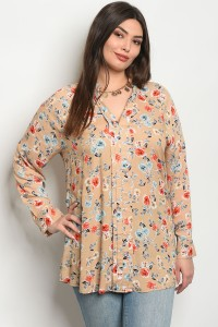 130-2-5-T81016X TAUPE FLORAL PLUS SIZE TOP 1-1-1