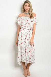 C101-A-4-D6540 OFF WHITE FLORAL DRESS 2-2-2