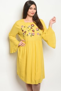 S13-9-3-D16761X YELLOW PLUS SIZE DRESS 2-2-2