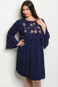 132-2-3-D16761X NAVY PLUS SIZE DRESS 2-2-2