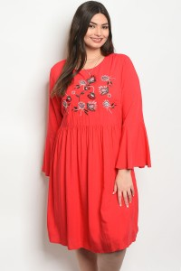S10-19-1-D16761X RED PLUS SIZE DRESS 2-2-2