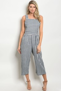 C81-A-4-J253 NAVY WHITE CHECKERED JUMPSUIT 2-2-2