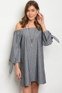 C60-A-4-D8179 GRAY WHITE STRIPES DRESS 2-2-2