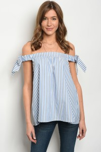 C59-B-3-T8188 BLUE WHITE STRIPES OFF SHOULDER TOP 2-2-2