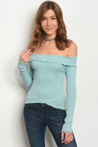 C42-B-3-T1052 MINT OFF SHOULDER TOP 2-2-2