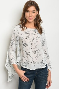 128-3-3-T1054 OFF WHITE FLORAL TOP 2-1-2
