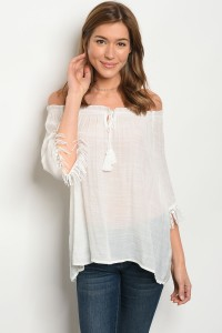 127-2-2-T3317 WHITE OFF SHOULDER TOP 2-2-2