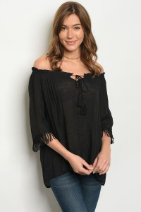 127-2-2-T3317 BLACK OFF SHOULDER TOP 2-2-2
