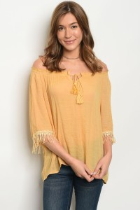118-2-3-T3317 MUSTARD OFF SHOULDER TOP 2-2-2