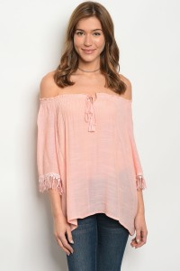 118-2-3-T3317 BLUSH OFF SHOULDER TOP 2-2-2