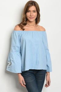 134-2-1-T3184 LIGHT BLUE DENIM TOP 3-2-2
