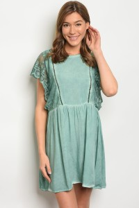 S12-7-5-T3536 GREEN TIE DYE DRESS 2-2-2