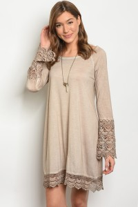 S11-14-2-D4180 TAUPE CROCHET DRESS 2-2-2