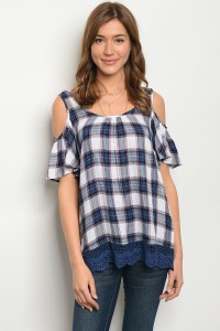S11-14-2-BLUE WHITE CHECKERED TOP 2-2-2