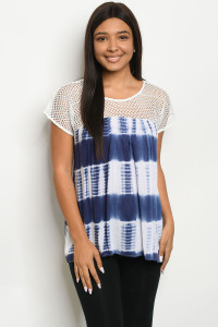 130-1-5-T4074 WHITE NAVY TIE DYE TOP 2-2-2