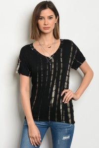 C33-B-4-T666249 BLACK TAUPE TIE DYE TOP 2-2-2