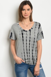 C33-B-2-T666249 GRAY BLACK TIE DYE TOP 2-2-2