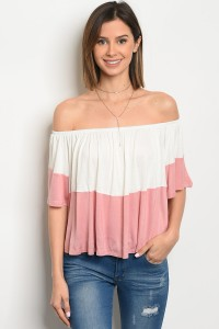 C33-B-2-T2085 IVORY MAUVE OFF SHOULDER TOP 2-2-2