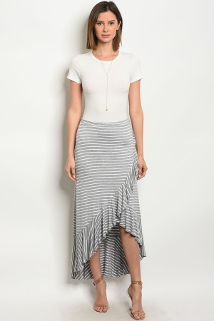 C38-A-5-S214848 GRAY WHITE SKIRT 2-2-2