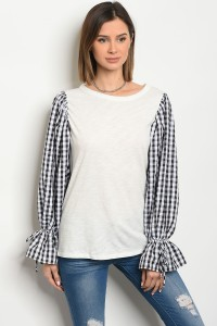 C82-A-1-T2980467 IVORY BLACK CHECKERED TOP 21-1-1