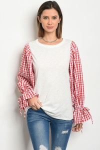 C82-A-1-T2980467 IVORY RED CHECKERED TOP 1-1-1