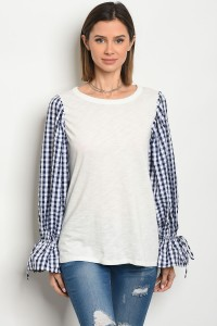 C83-A-5-T2980467 IVORY NAVY CHECKERED TOP 2-2-2