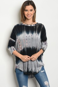 C87-A-3-T299145 GRAY NAVY TIE DYE TOP 2-2-2