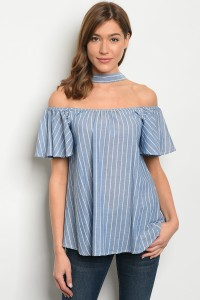 135-2-1-T72203 BLUE WHITE STRIPES OFF SHOULDER TOP 2-2-2