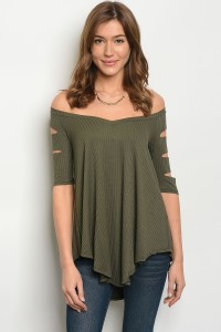 S13-3-2-T711063 OLIVE OFF SHOULDER TOP 2-2-2