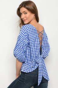 125-2-5-T703073 BLUE GINGHAM TOP 2-2-2
