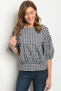 S10-20-4-T703073 BLACK WHITE CHECKERED TOP 2-2-2