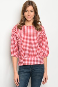 S10-20-4-T703073 RED GINGHAM TOP 2-2-2