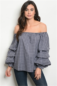 120-2-4-T706091 NAVY POPLIN OFF SHOULDER TOP 2-2-2