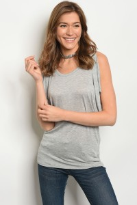 C11-B-3-T51306 HEATHER GRAY TOP 2-2-2
