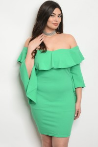 C50-A-2-D6145X GREEN PLUS SIZE DRESS 2-2-2