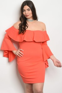 C50-A-2-D6145X CORAL PLUS SIZE DRESS 2-2-2