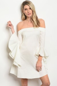 S11-10-2-D8068 WHITE POPLIN OFF SHOULDER DRESS 2-2-2