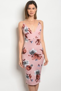 C24-A-4-NA-D31135LC DUSTY PINK FLORAL DRESS 2-2-2