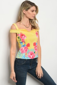 125-2-1-T30162 YELLOW FLORAL TOP 2-2-3